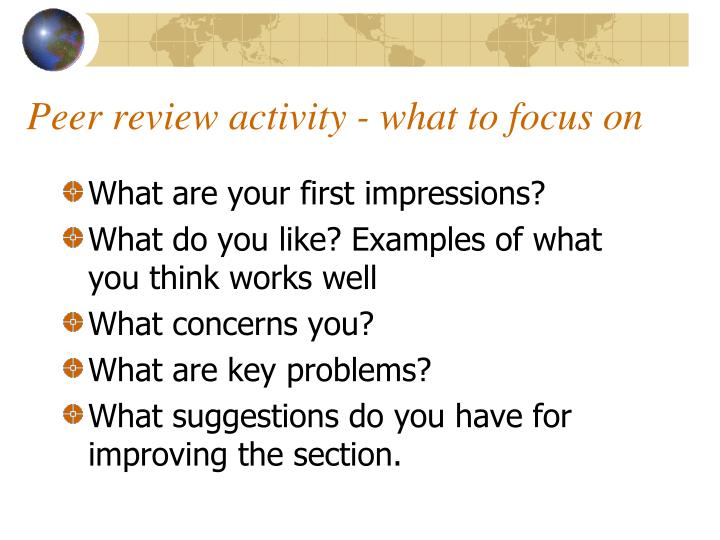 Peer review activity - what to focus on
