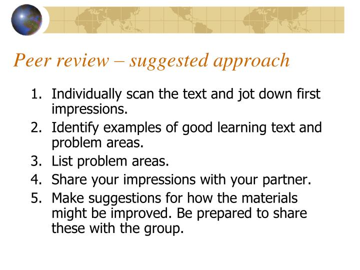 Peer review – suggested approach