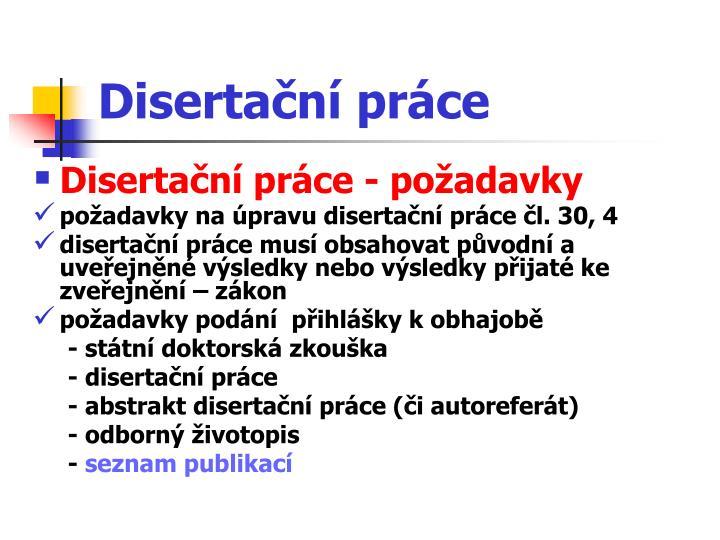 Disertační práce