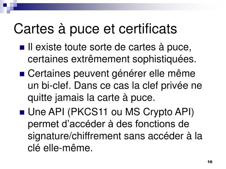 Cartes à puce et certificats
