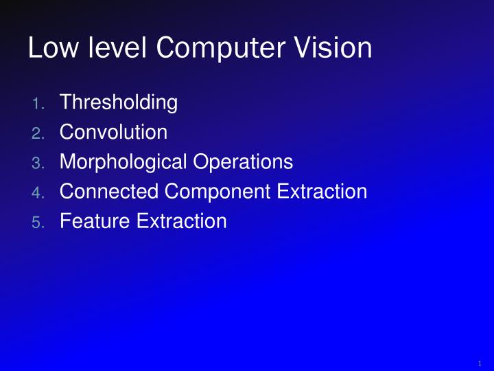 low level computer vision n.