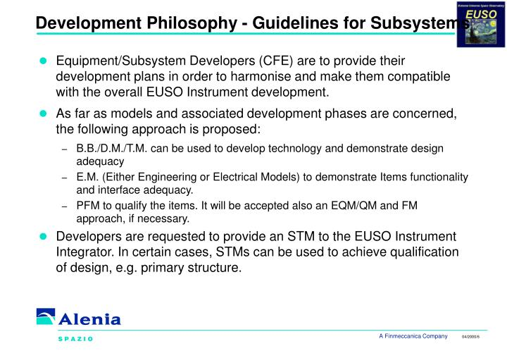 Development Philosophy - Guidelines for Subsystems