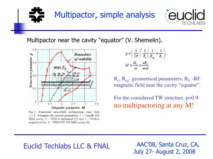 Multipactor, simple analysis