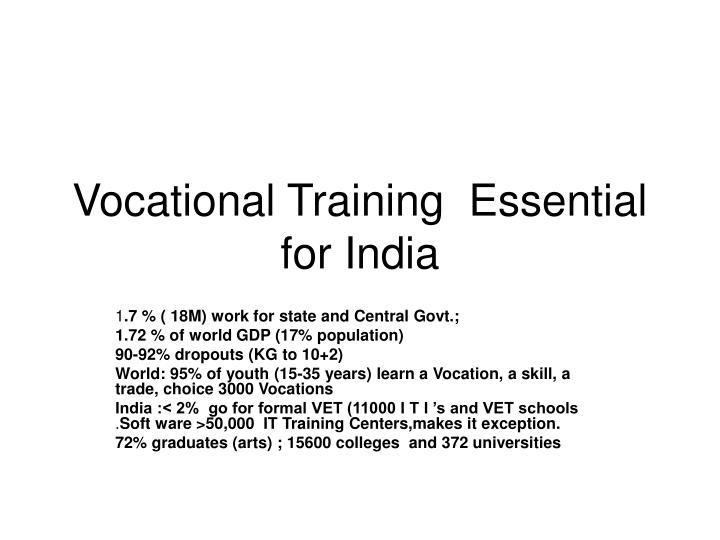 vocational training essential for india n.