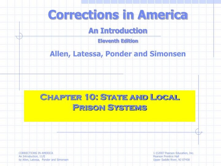 chapter 10 state and local prison systems n.