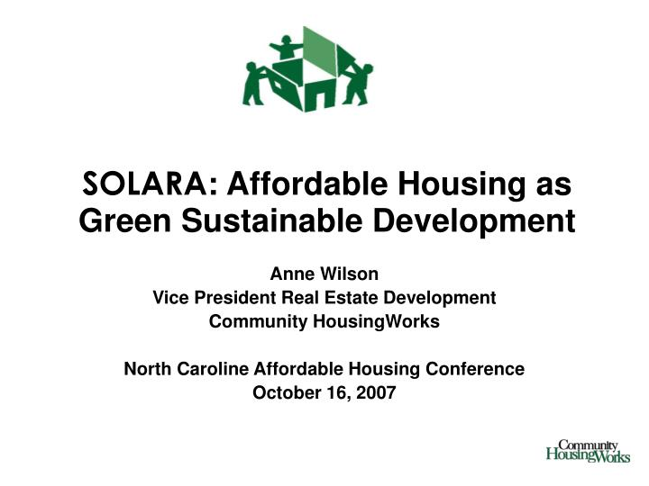 solara affordable housing as green sustainable development n.