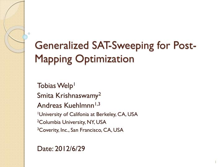 generalized sat sweeping for post mapping optimization n.