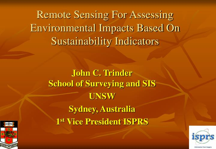 remote sensing for assessing environmental impacts based on sustainability indicators n.