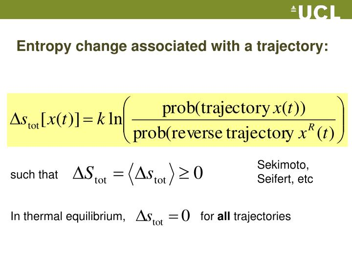 Entropy change associated with a trajectory: