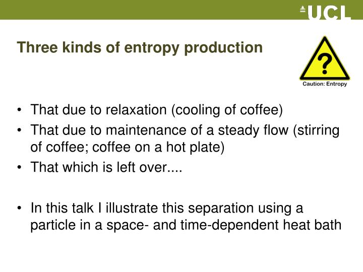 Three kinds of entropy production