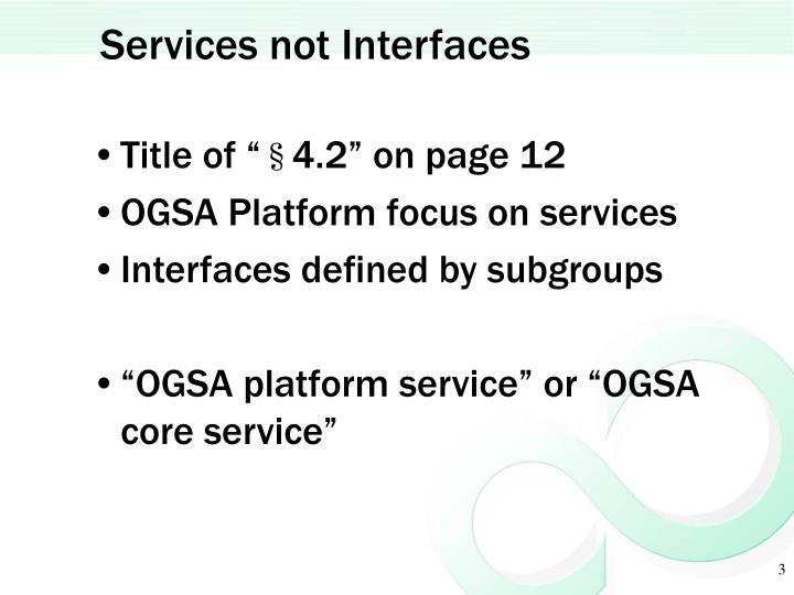 Services not interfaces