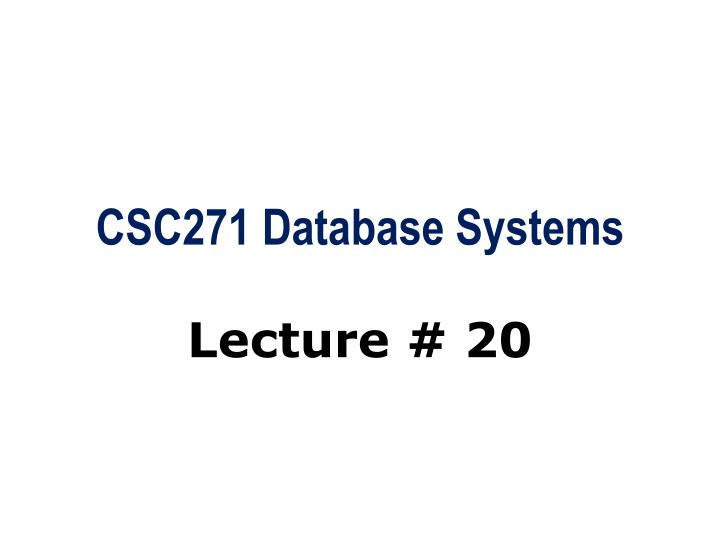 csc271 database systems n.