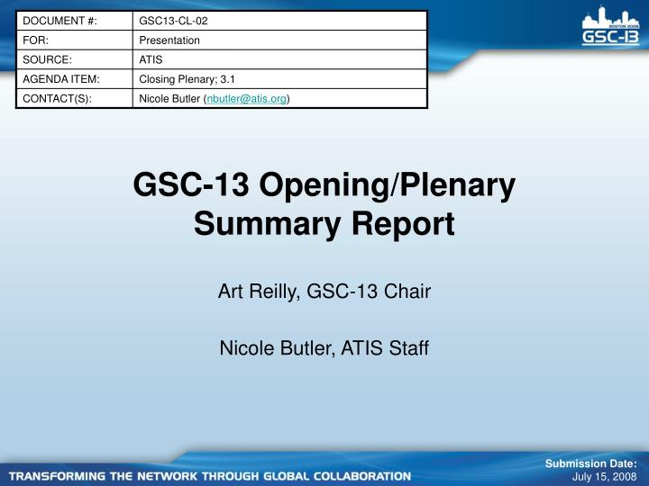 gsc 13 opening plenary summary report n.