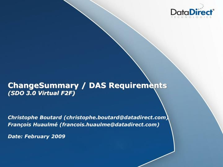 changesummary das requirements sdo 3 0 virtual f2f n.