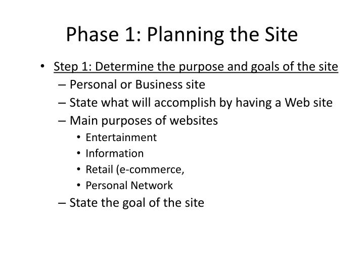Phase 1: Planning the Site