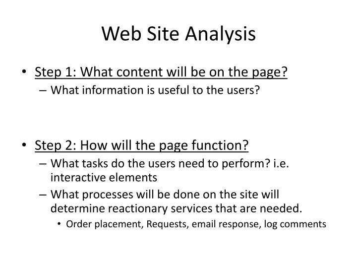 Web Site Analysis