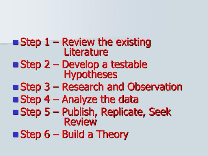 Step 1 – Review the existing    Literature