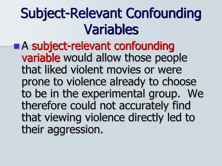 Subject-Relevant Confounding Variables