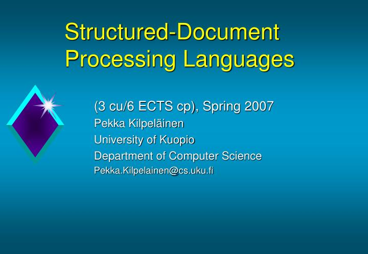 structured document processing languages n.