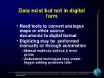 data exist but not in digital form