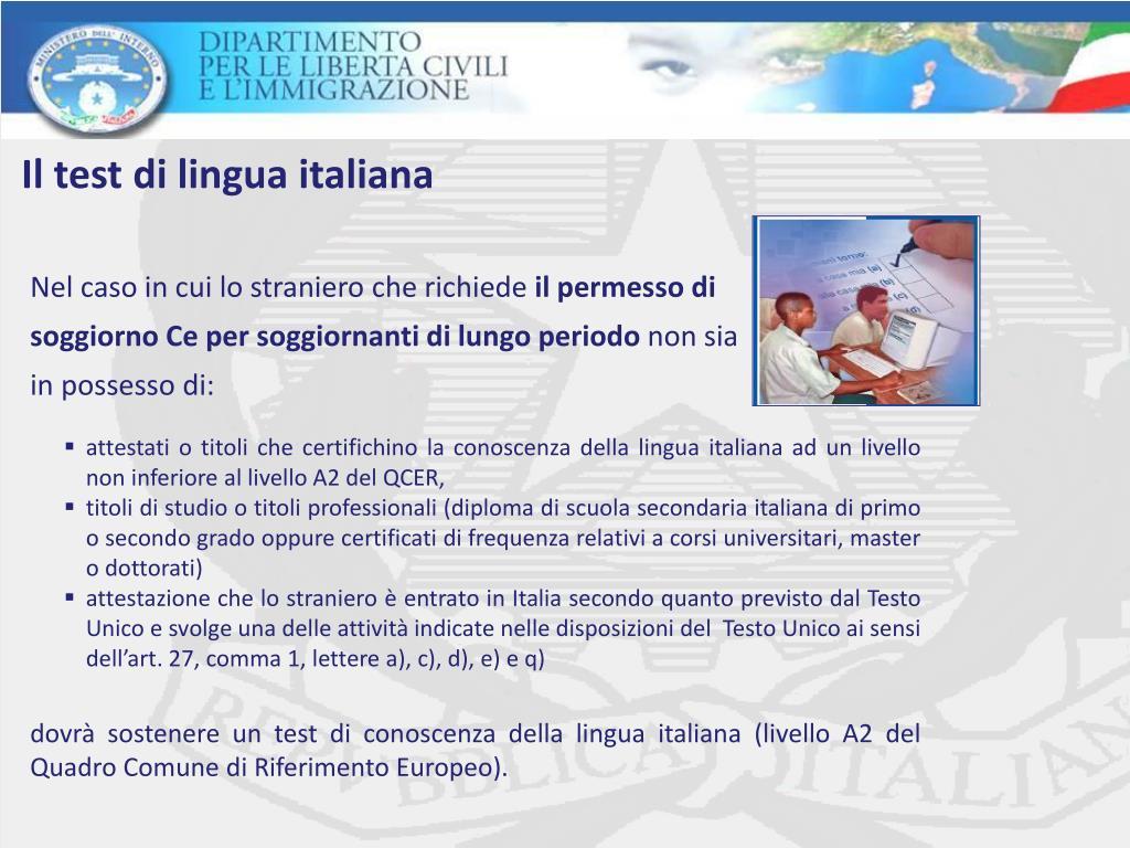 PPT - Il test di lingua italiana: il procedimento e i ...