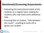 benchmark screening assessments