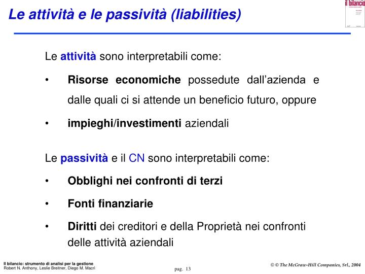Le attività e le passività (liabilities)