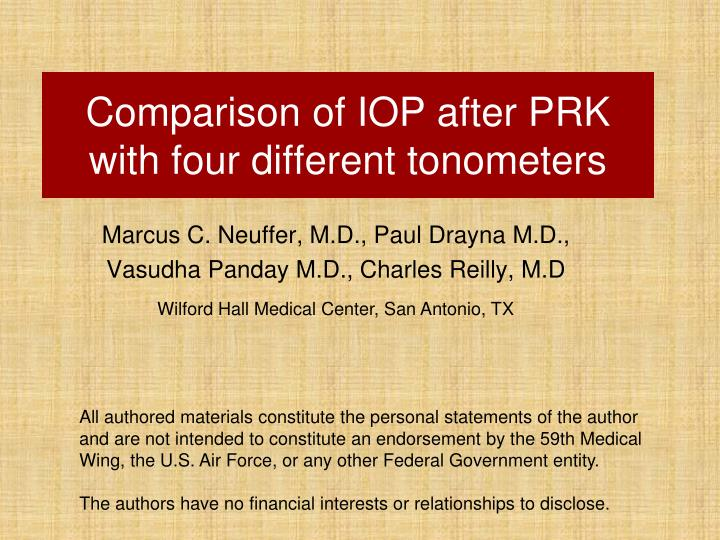 comparison of iop after prk with four different tonometers n.