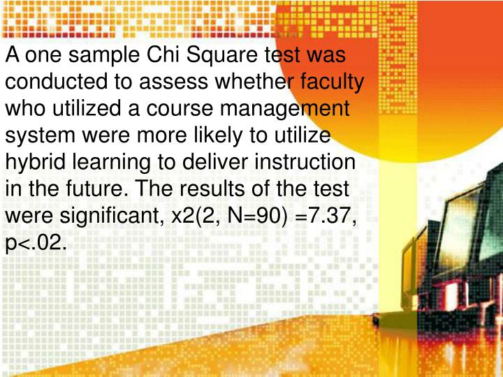 A one sample Chi Square test was conducted to assess whether faculty who utilized a course management system were more likely to utilize hybrid learning to deliver instruction in the future. The results of the test were significant, x2(2, N=90) =7.37, p<.02.