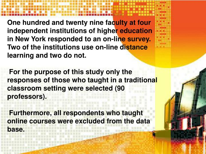 One hundred and twenty nine faculty at four independent institutions of higher education in New York responded to an on-line survey. Two of the institutions use on-line distance learning and two do not.