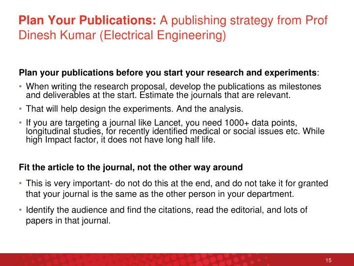 Plan Your Publications: