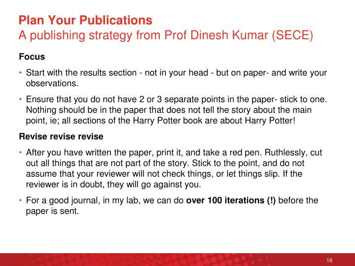 Plan Your Publications