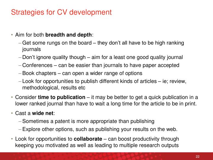 Strategies for CV development