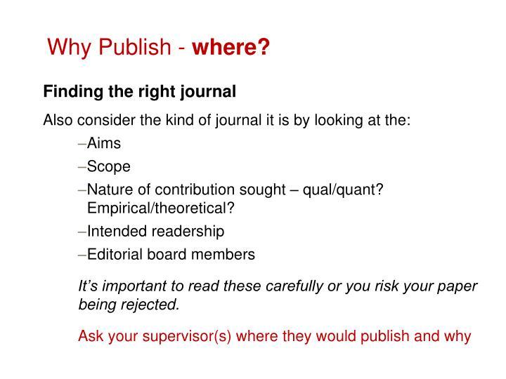 Why Publish -
