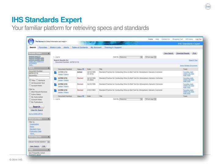 IHS Standards Expert
