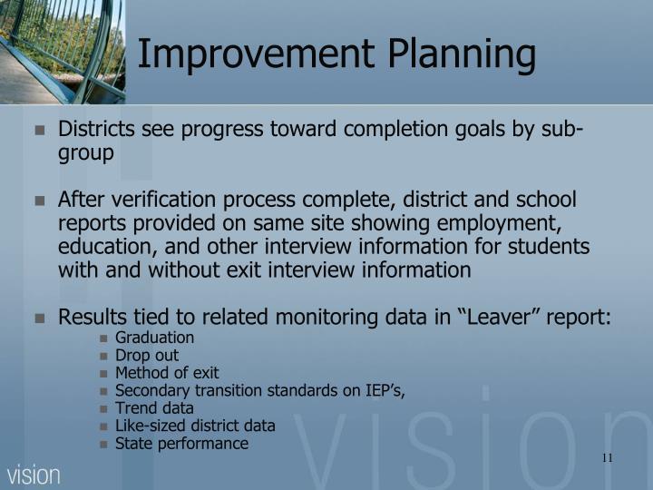 Improvement Planning
