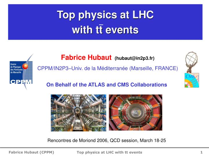 top physics at lhc with tt events n.
