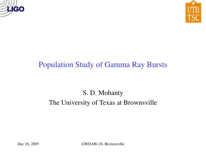 population study of gamma ray bursts n.
