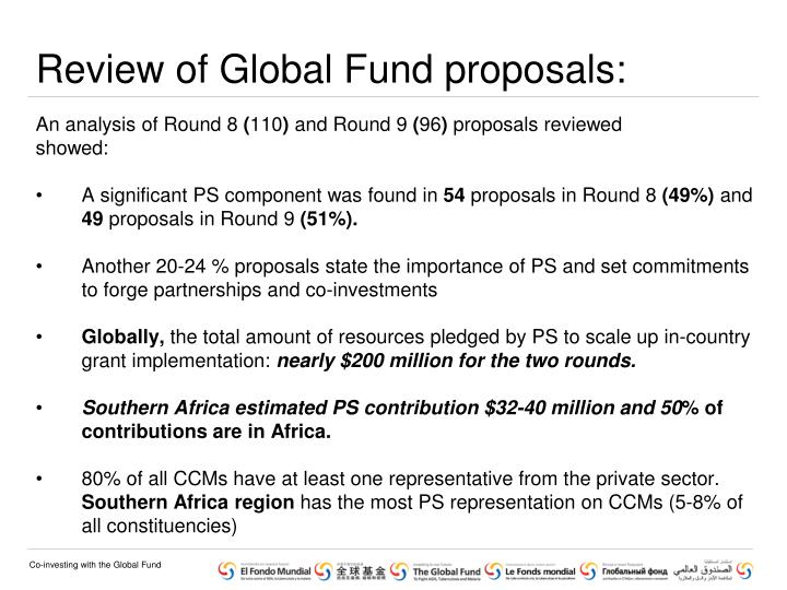 Review of Global Fund proposals: