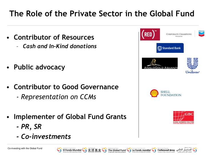 The Role of the Private Sector in the Global Fund