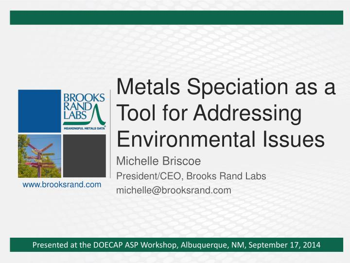 metals speciation as a tool for addressing environmental issues n.