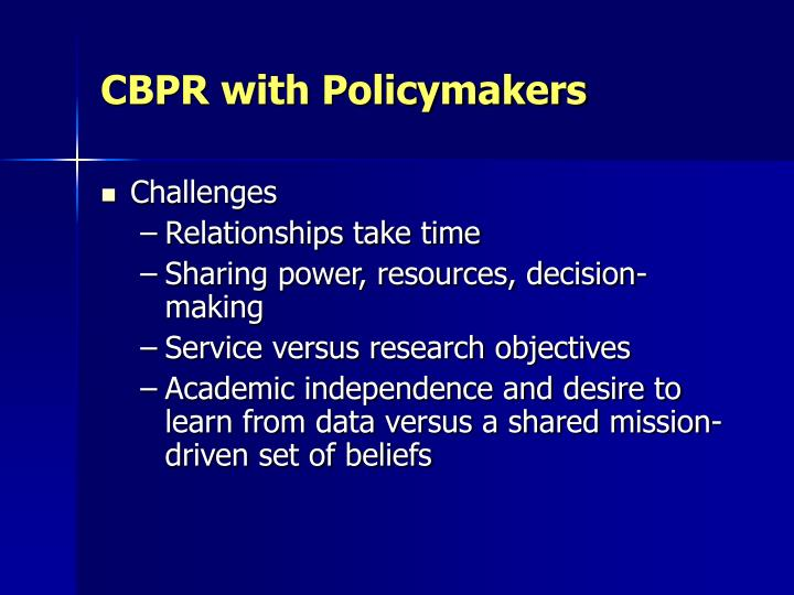 CBPR with Policymakers