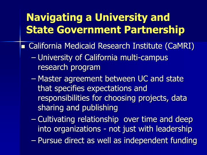 Navigating a University and State Government Partnership
