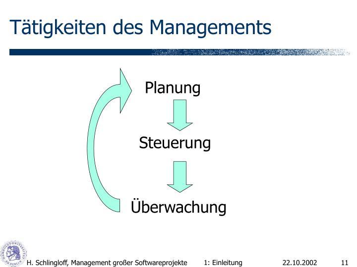 Tätigkeiten des Managements