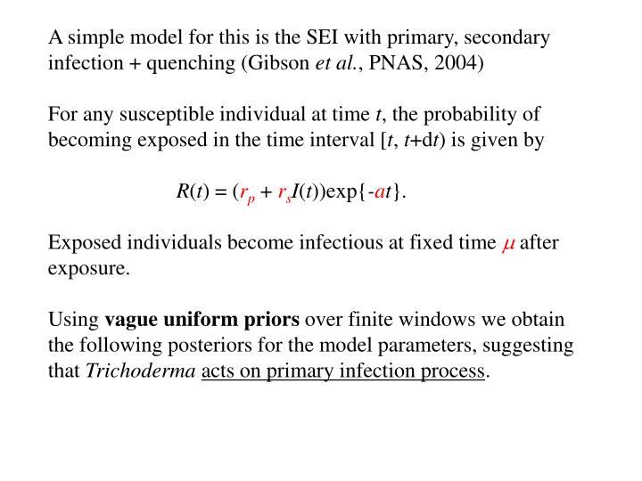 A simple model for this is the SEI with primary, secondary infection + quenching (Gibson