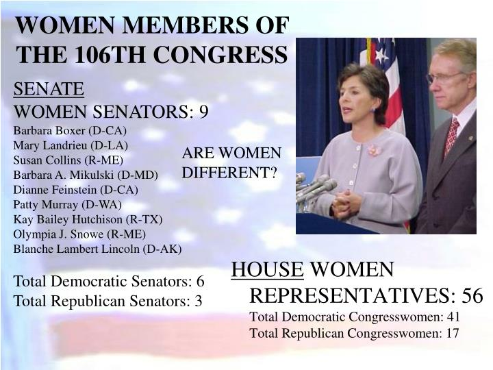 WOMEN MEMBERS OF THE 106TH CONGRESS