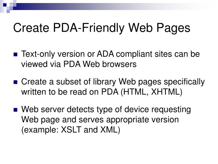 Create PDA-Friendly Web Pages