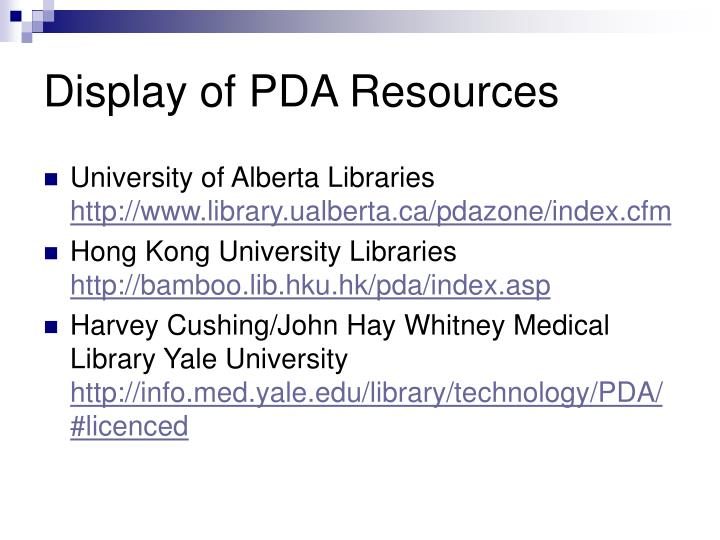 Display of PDA Resources