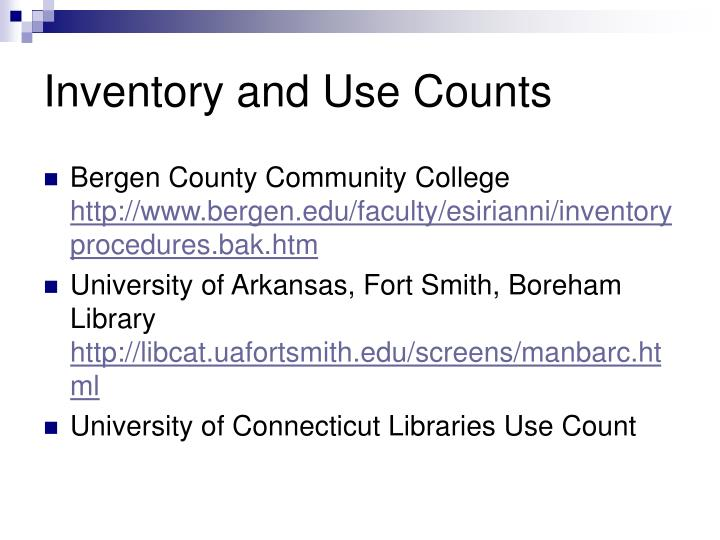 Inventory and Use Counts