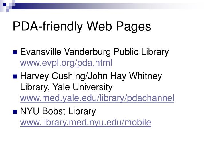 PDA-friendly Web Pages